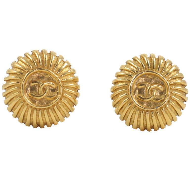 "Vintage Chanel ""Gold"" Button Earrings"