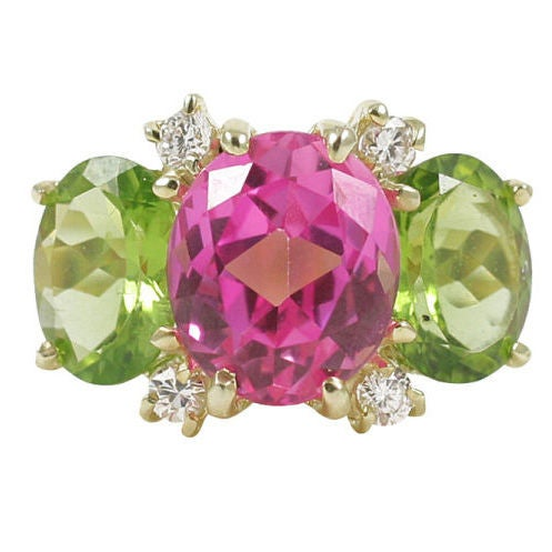 Medium GUM DROP™ Ring with Pink Topaz and Peridot and Diamonds
