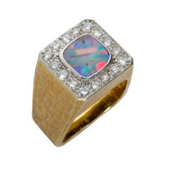 1970s Andrew Grima Opal Diamond Gold Ring