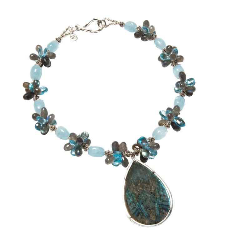 Aquamarine Labradorite Topaz Pendant Necklace For Sale