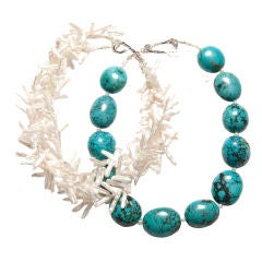 Deborah Liebman White Fresh Water Pearl Turquoise and Sterling Silver Necklace