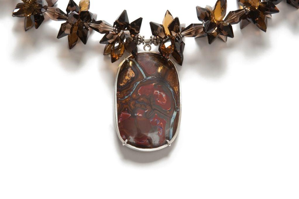 Modern Deborah Liebman Australian Boulder Opal Pendant Whiskey Citrine Silver Necklace For Sale
