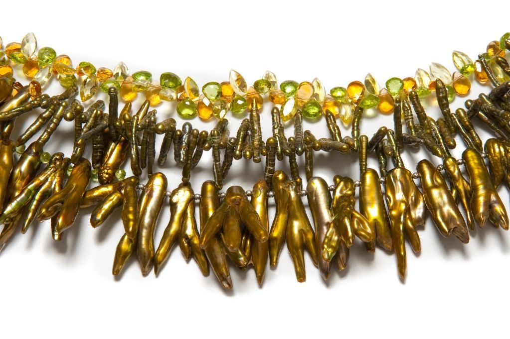 Golden Green Pearl Multi-Strand Necklace with Peridot, Citrine, Lemon quartz and Green Keishi Pearls in Sterling Silver (17, 19 and 19 1/2 inch lengths)