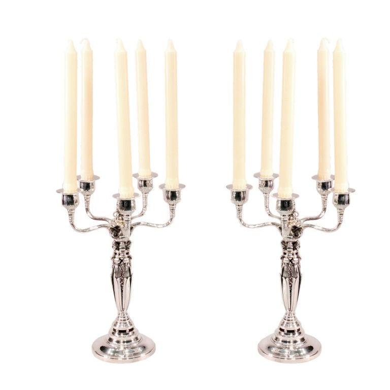 pair of rare georg jensen five light candelabra for sale. Black Bedroom Furniture Sets. Home Design Ideas