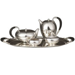 Four Piece Georg Jensen Tea and Coffee Set on Matching Tray