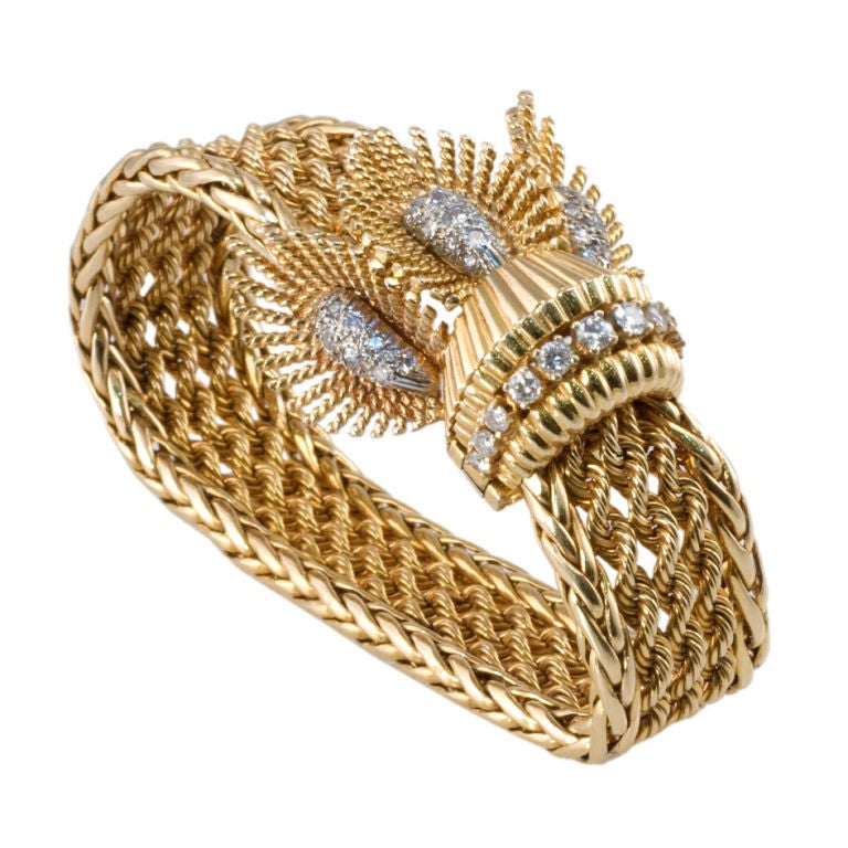 Gold rope triple feathered diamond set motif bracelet at for Triple j fine jewelry