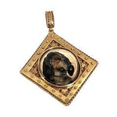 Antique Jewelry 19th Century Essex Crystal Dog Pendant