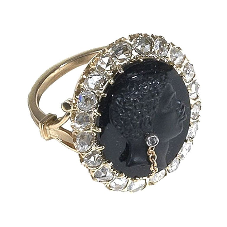 Hardstone Blackamoor Cameo Habille' Rose-cut  Diamond Ring 1