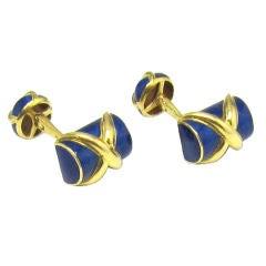 TIFFANY & CO. SCHLUMBERGER 18K Gold Blue Enamel Cufflinks