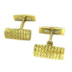 BUCCELLATI 18K Gold Textured Barrel Cufflinks