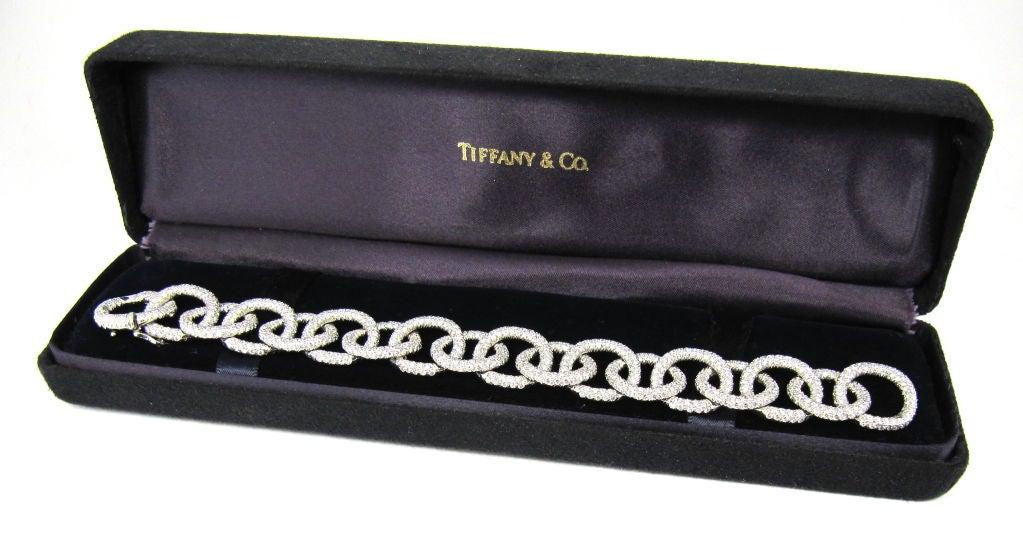 TIFFANY & CO. Etoile Platinum 13cts Pave Diamond Link Bracelet 2