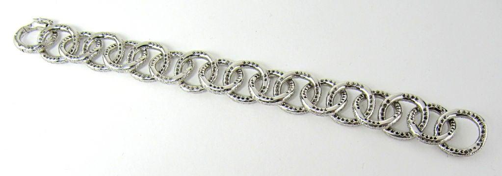 TIFFANY & CO. Etoile Platinum 13cts Pave Diamond Link Bracelet 6