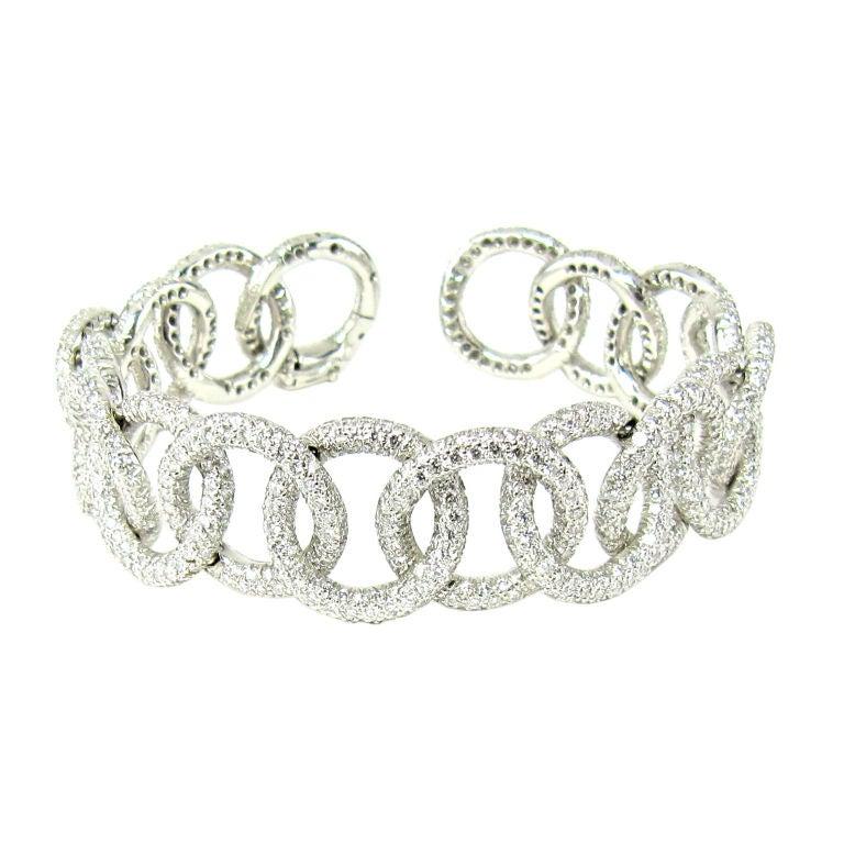 TIFFANY & CO. Etoile Platinum 13cts Pave Diamond Link Bracelet 1