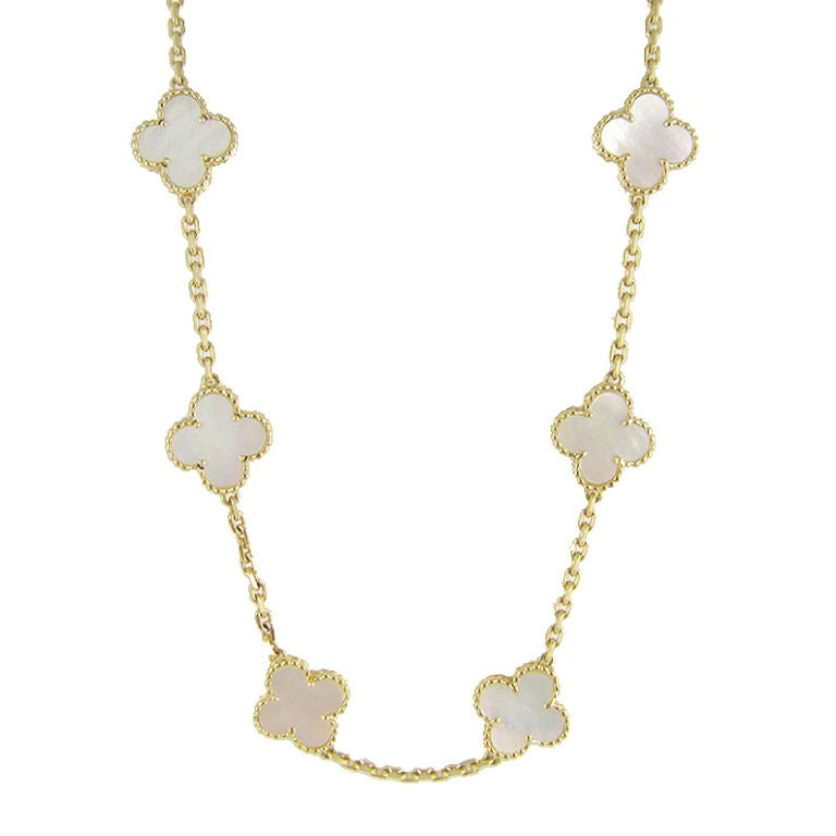 Van Cleef And Arpels Mother Of Pearl Necklace: 18K YG Mother Of Pearl Van Cleef And Arpels Necklace At