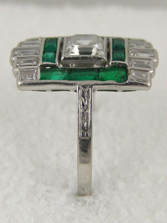 platinum asscher cut and emerald ring at 1stdibs