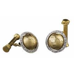 Caput Mundi Gold   Diamond Cufflinks