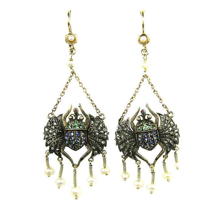 Victorian Egyptian Revival Scarab Earrings 1