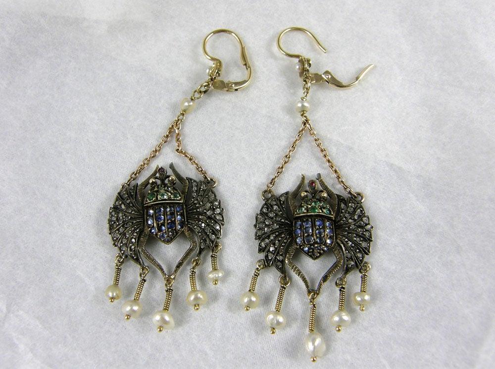 Victorian Egyptian Revival Scarab Earrings 2