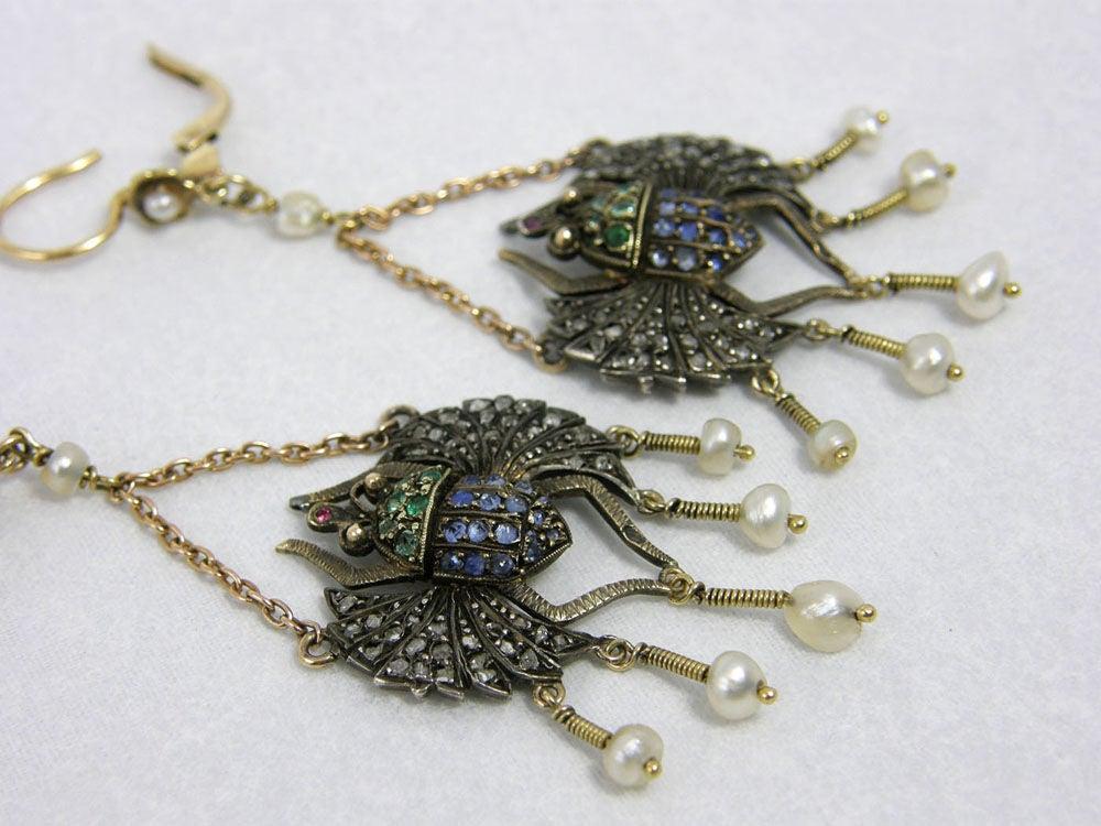 Victorian Egyptian Revival Scarab Earrings 3