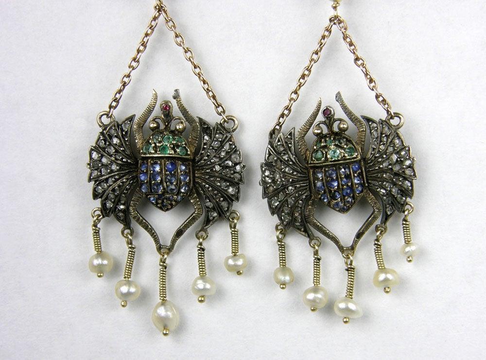 Victorian Egyptian Revival Scarab Earrings 4