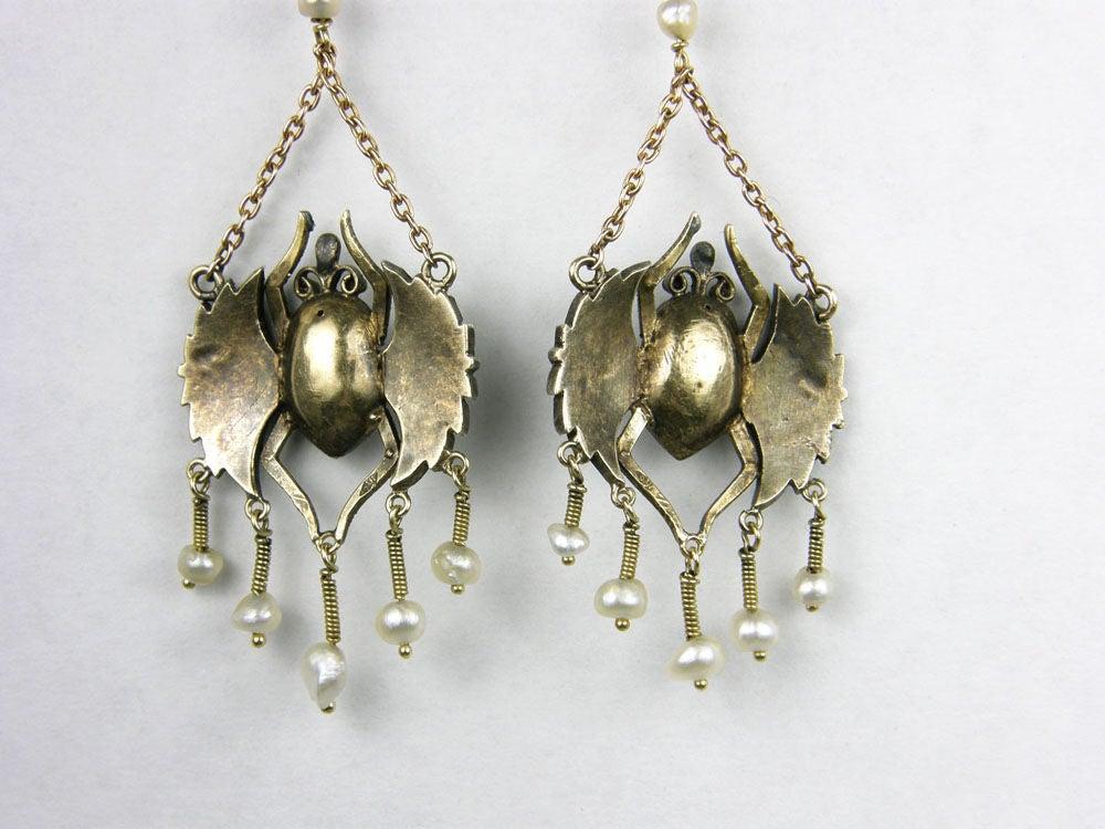 Victorian Egyptian Revival Scarab Earrings 5