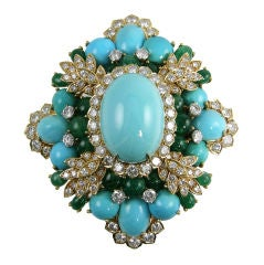Amazing Turquoise Emerald and Diamond Brooch