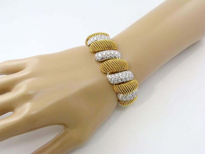 Gold and Diamond Mesh Bracelet 2