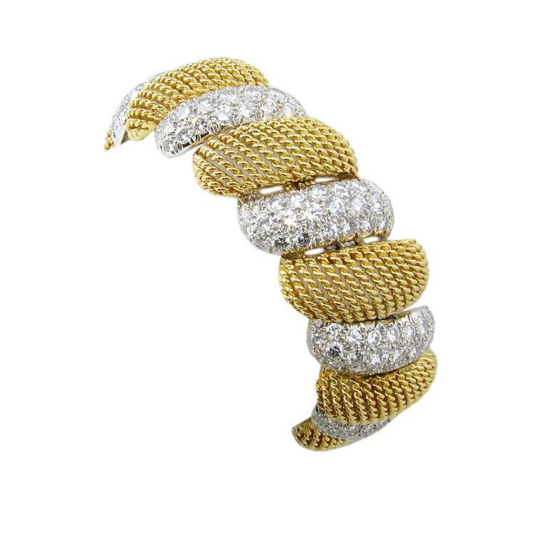 Gold and Diamond Mesh Bracelet 1