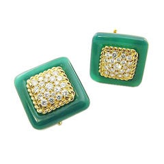 VCA Chrysoprase and Diamond Square Button Earrings