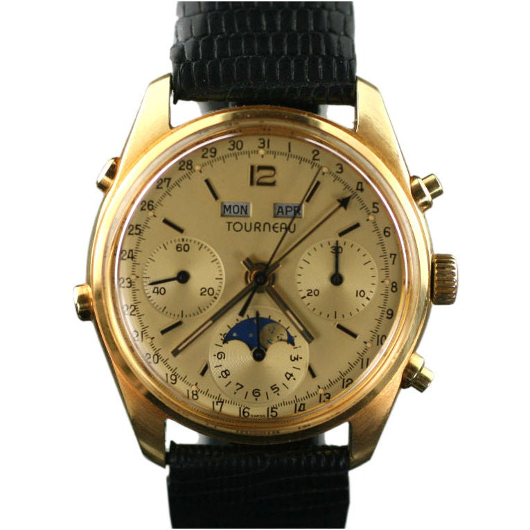 Tourneau 18k triple date moon phase chronograph at 1stdibs for Triple j fine jewelry