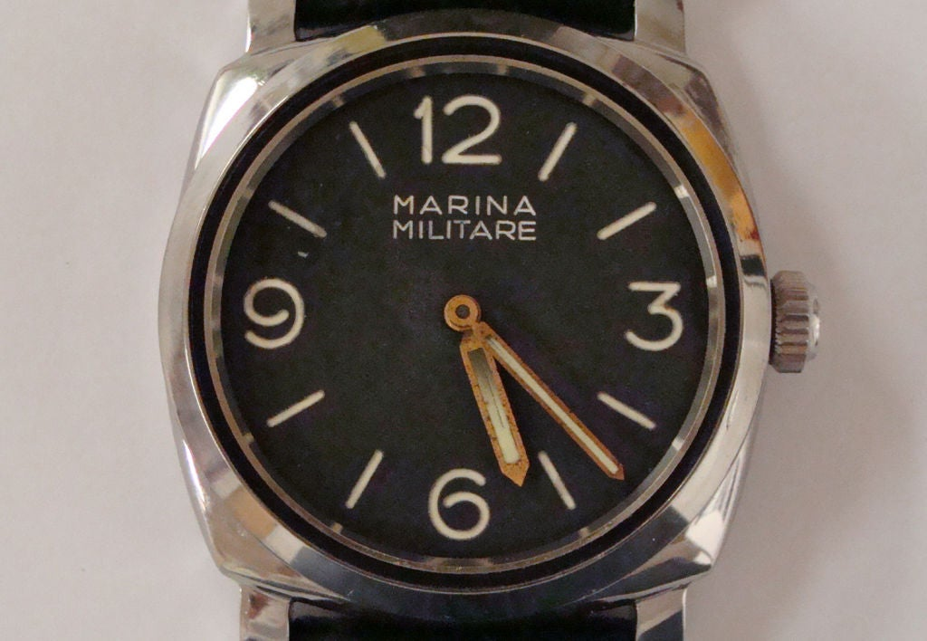 This is a very rare Panerai made for the Italian navy in the 1940s.  The watch was made by Rolex and the case and 17 jewel movement are sigined by Rolex.  It is a reference 6152-1.   The non-locking Brevet crown is rare and sought-after.  The case
