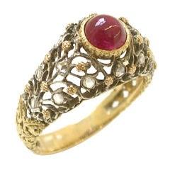 Buccellti Gold and Diamond Ruby Ring, circa 1960