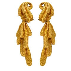 A Pair of Gold Earrings,signed, circa 1960