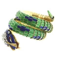 Incredible Enamel & Damond Coiled Serpent Bracelet
