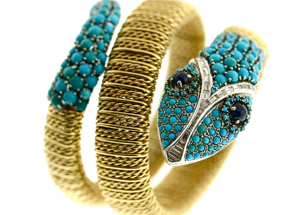 Women's Stylish 1960s Turquoise & Diamond Serpent Wrap Bracelet