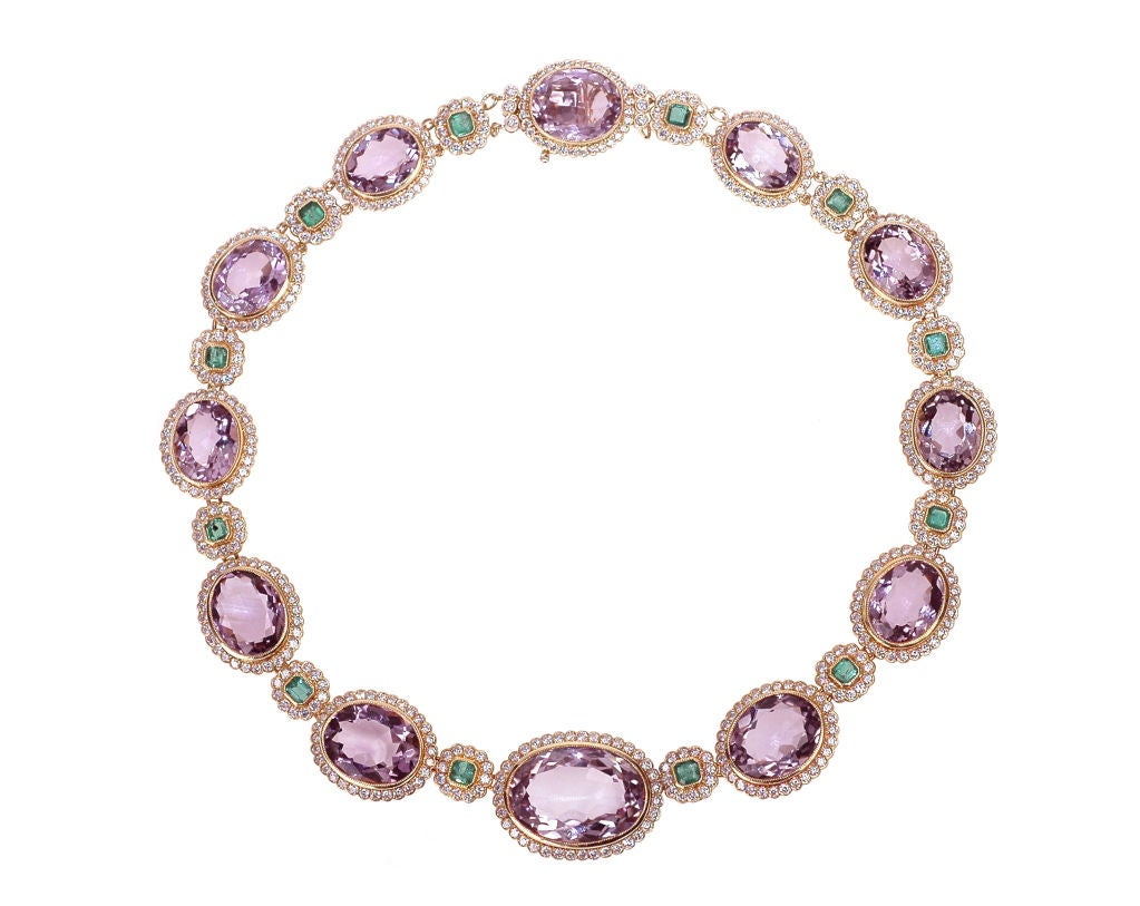 an amethyst and emerald necklace by julius