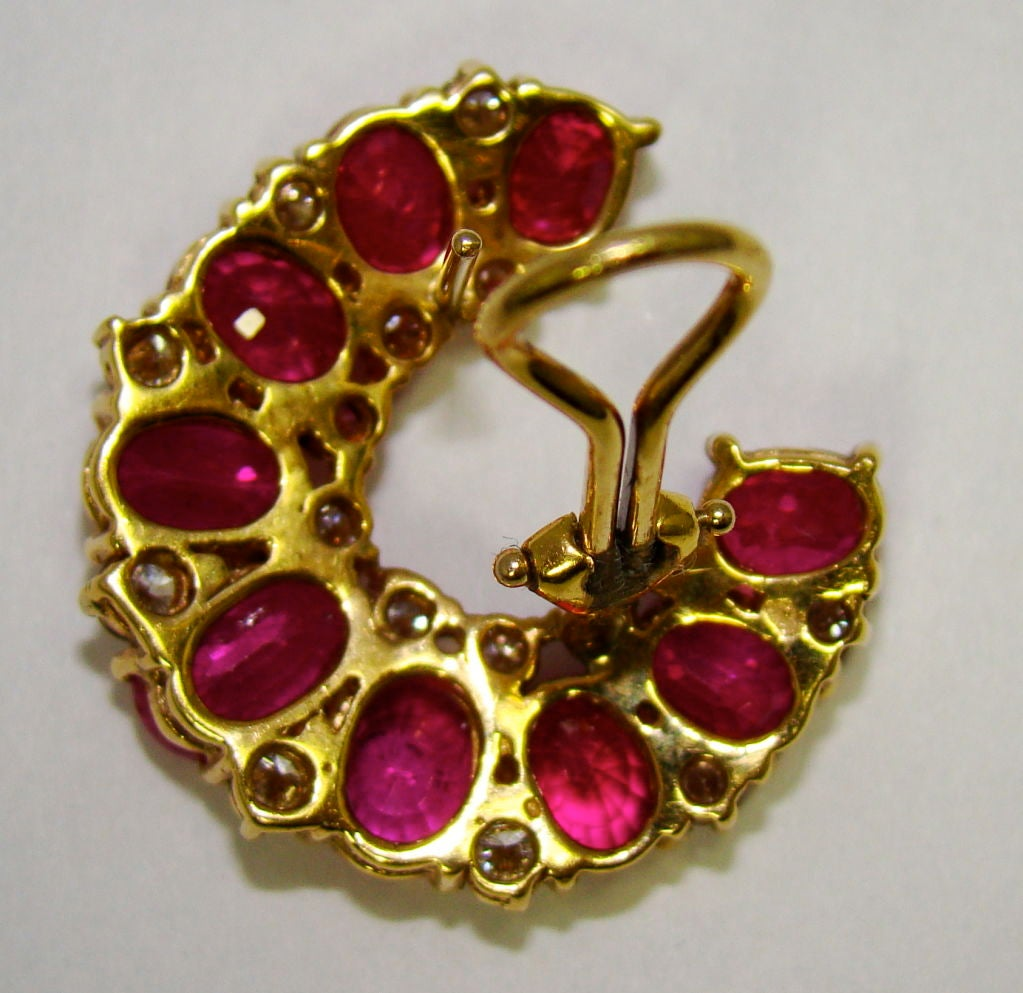 1 karat earrings 18 karat yellow gold ruby and earrings at 1stdibs 7426