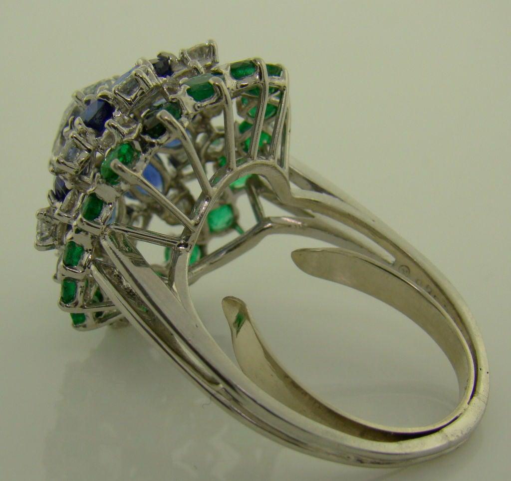 Women's Platinum, Diamond, Sapphire & Emerald Ring by Oscar Heyman For Sale