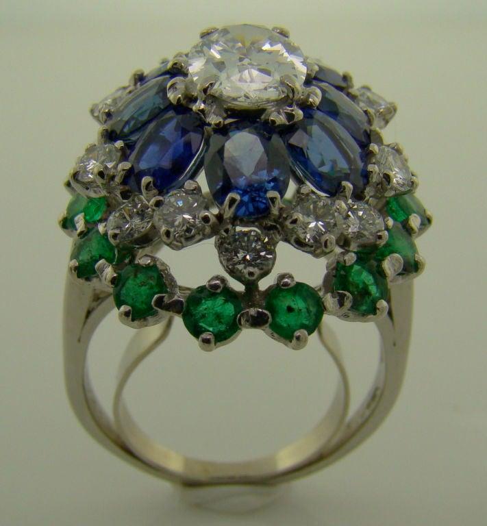Platinum, Diamond, Sapphire & Emerald Ring by Oscar Heyman For Sale 1