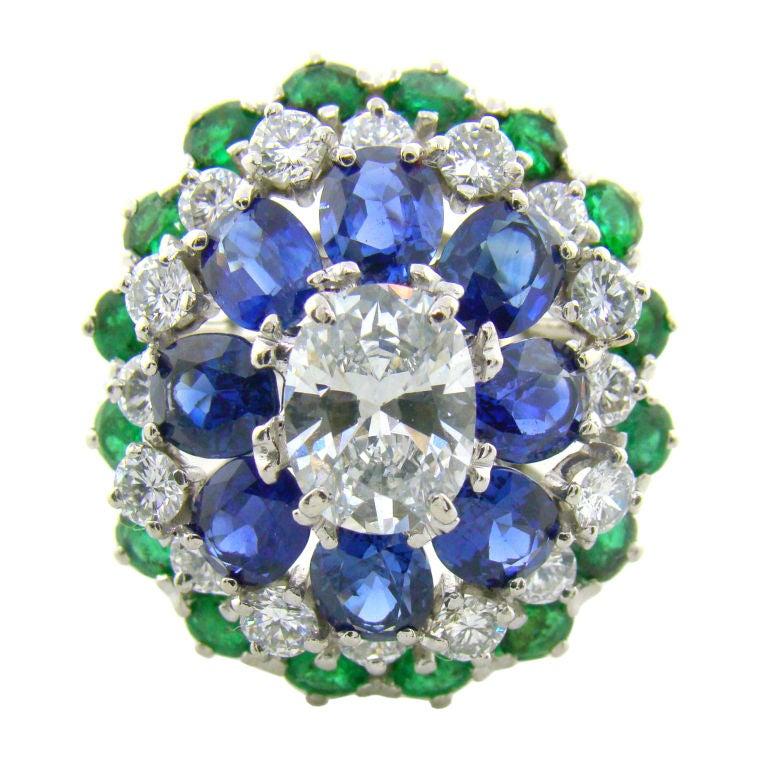 Platinum, Diamond, Sapphire & Emerald Ring by Oscar Heyman For Sale