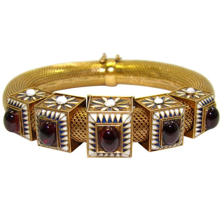 18K Yellow Gold Etruscan Revival  Bracelet, w/ Garnets & Enamel 1