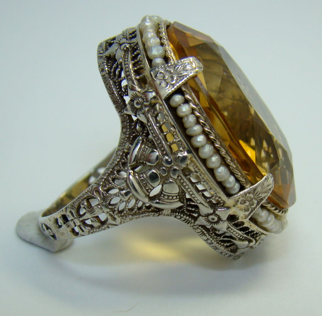 14k white gold citrine and seed pearl ring at 1stdibs