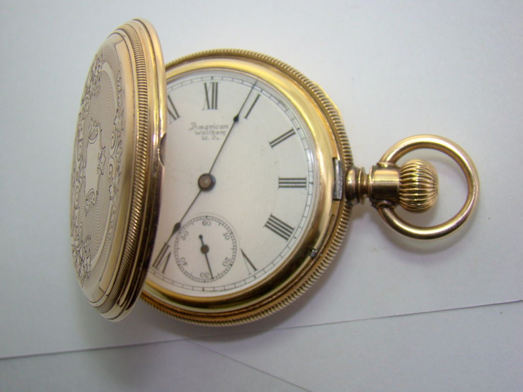 14k yellow gold american waltham pocket at 1stdibs