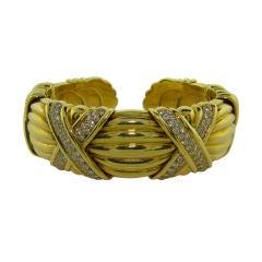 18K Yellow Gold & Diamond Flex Bangle Bracelet