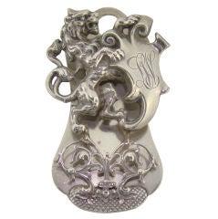 """Scheibler"" Lion Paper Clip in Sterling Silver c/1900"