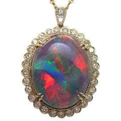 Lightening Ridge Australian Black Opal & Diamond Pendant