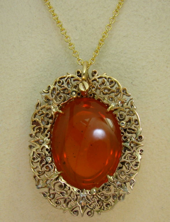 Victorian mexican fire opal diamond silver and gold pendant at womens victorian mexican fire opal diamond silver gold pendant aloadofball Choice Image