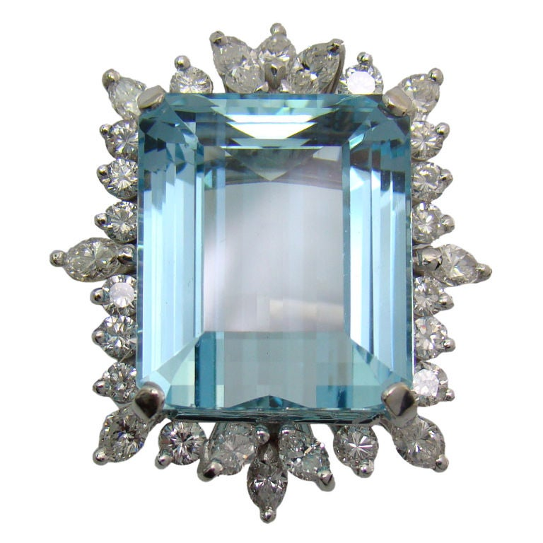 1950s Aquamarine Diamond Gold Ring