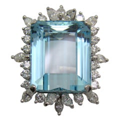1950s Aquamarine Diamond Gold Ring