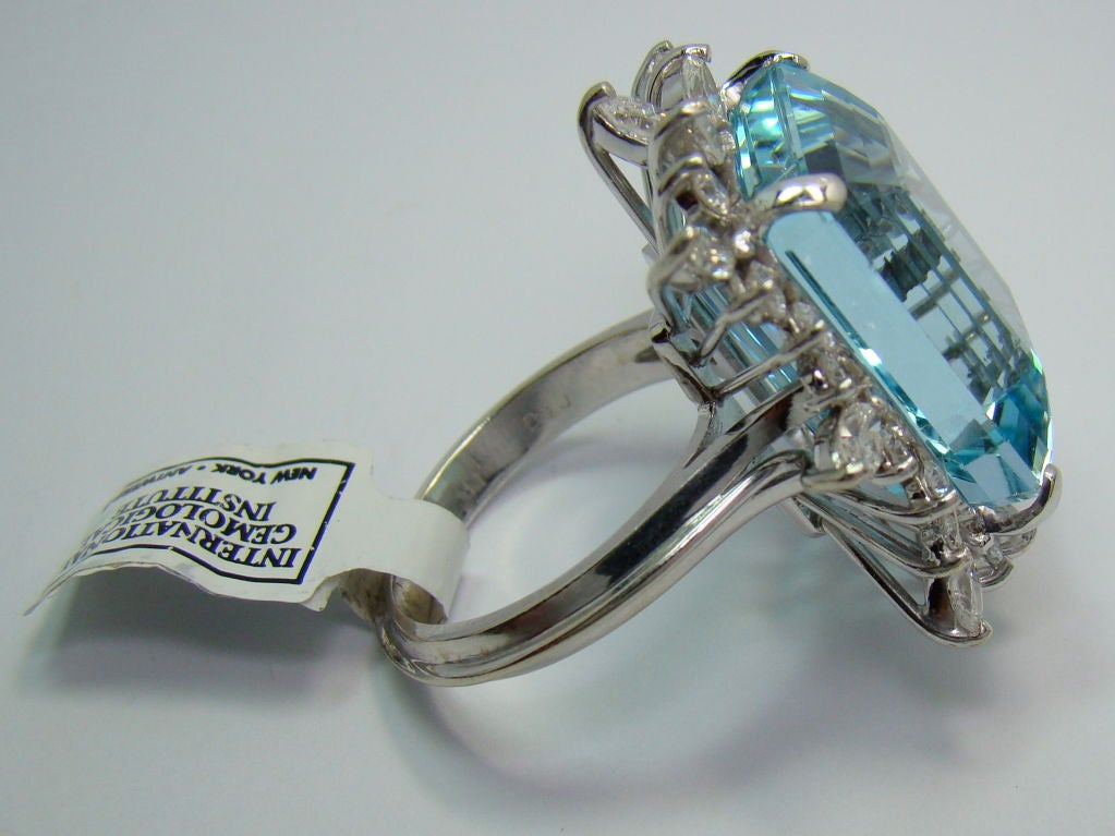 1950s Aquamarine Diamond Gold Ring  3